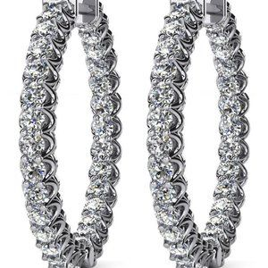 3 ct round brilliant cut diamonds Ladies Hoop earr